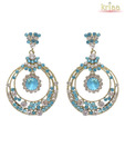 Kriaa Round Turquoise Earrings