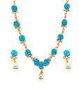 Nihaarika Pearls Pearl & Blue Coral Necklace Set
