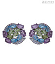 Zevrat Multicoloured Amethyst Silver Earrings