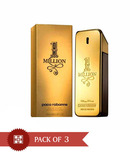 Paco Rabbane One million men 100ml Each  (Pack of 3)