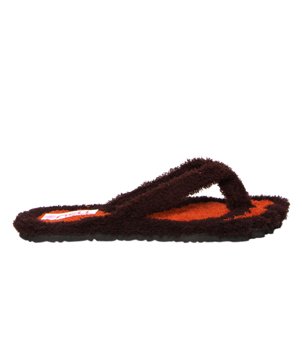Nell Striking Brown & Orange Slippers