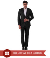 Canary London Black Designer Suit With Free Shirt, Cufflink & Neck Tie