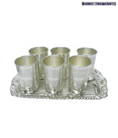 Bharat Handicrafts German Silver Glass Set & Tray