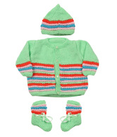 Bunai Green & Red Hand Knitted Designer Babyset