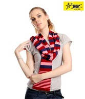 StarBeeez Red & Blue Stripes Pattern Scarf