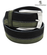 WalletsnBags Stylish Black & Olive Green Belt