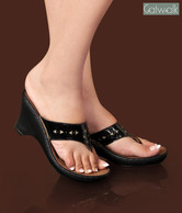 Catwalk Black Heel Slip-on Sandals