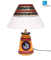 ExclusiveLane Yellow & White Hand Painted Lamp