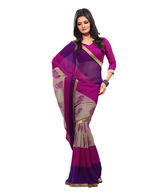 Fabdeal Stylish Pink-Purple Printed Saree