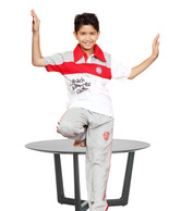 Happy Hours Red-White T-Shirt & Grey Pyjama For Kids