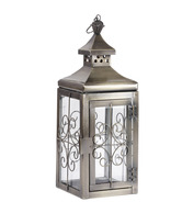 Live n Style Antique Brass Coated Glass & Iron Lantern