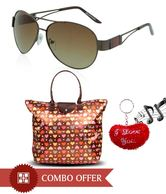 Gansta Special Brown Sunglasses & Foldable Handbag Combo With Free Keyring