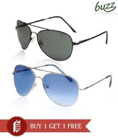 Buzz Blue & Dark Olive Lens Sunglasses - Buy 1 Get 1 Free