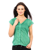 Osia Italia Green Printed Cotton Shirt