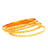 Jewels Of India Dazzling Golden Bangles - Set Of 4