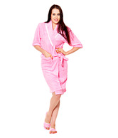 Retro Pool Pink Bathrobe & Bath Slippers