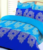 Sleepwell Cool Blue Cotton Bedsheet