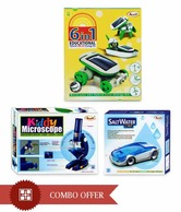 Ekta Combo Of 3 Games- Kiddy Microscope, Solar Kit 1 & Salt Car