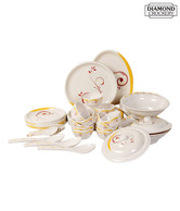 Diamond Crockery Yellow & Red Floral Dinner Set - 40 Pcs