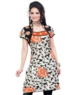 FNF Black-Orange Cotton Printed Kurti