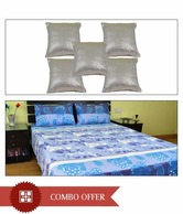 MeSleep Blue Double Bed Sheet & Silver Cushion Covers Combo- 8 Pcs