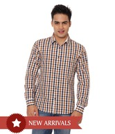 United Colors of Benetton White-Brown-Black Casual Shirt
