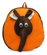 A-maze Orange & Brown Cartoon Elephant School Bag - 12.5 Inch