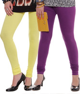 Rham Lime Yellow-Purple Leggings Combo Of 2