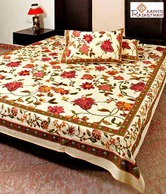 Aapno Rajasthan Traditional Mughal Gold Print Bed Sheet Set