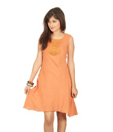 Sepia Tangy Orange Lace Yoke Dress