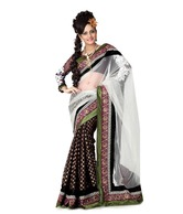 Designersareez Black-White Viscose Embroidered Saree