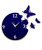 Panache Blue Butterfly Wall Clock