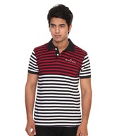 Raves Maroon, Black & White Polo T-Shirt