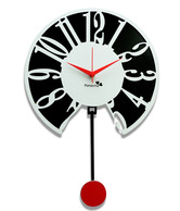 Panache Black & White Pendulum Wall Clock