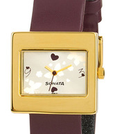 Sonata Sparkling Cream Dial Watch