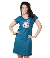 Clifton Turquosie Blue Cat Printed Cotton Nighty