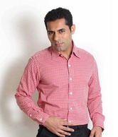 Globus Red Checkered Formal Shirt