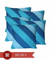 Dekor World Blue Stripes Quilted Cushion Cover Set- 5 Pcs
