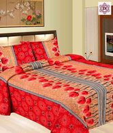 Shop Rajasthan Red & Beige Sanganeri Double Bed Sheet Set