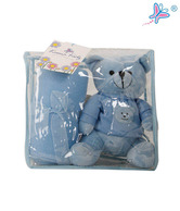 Keona Kidz Cute Blue Baby Blanket & Teddy Set