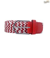 Fidato Red & White Interwoven Design Belt