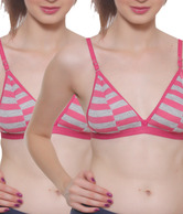 Colors Pink-Grey Striped Bra Pack Of 3