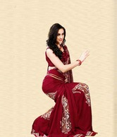 Aalya Delightful Red & Cream Saree With Unstitched Blouse