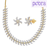 Peora Twisted Tale Gold and Rhodium Plated Necklace Set