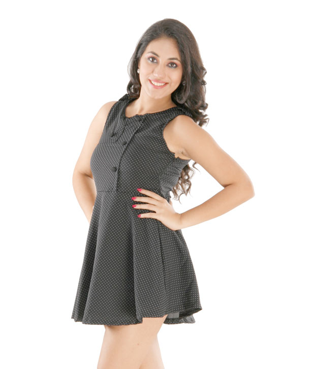 1 Love Black Polka Print Short Dress