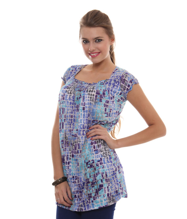 Sepia Winsome Blue-Purple Tunic Top