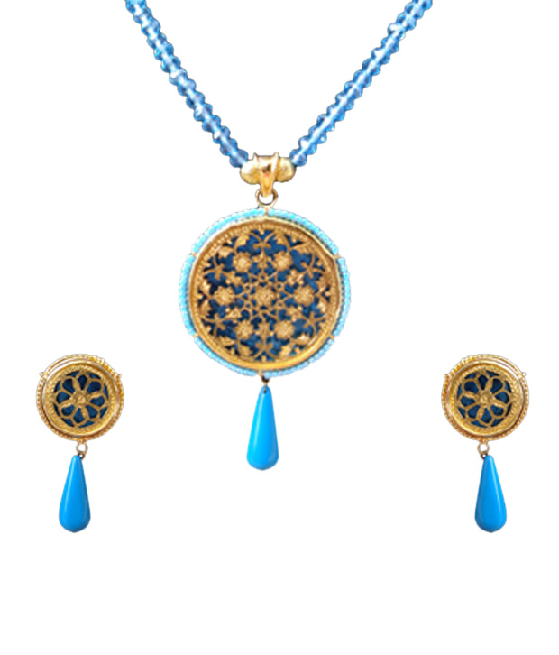 UnwrapIndia Golden Thewa Turquoise Drop Necklace Set