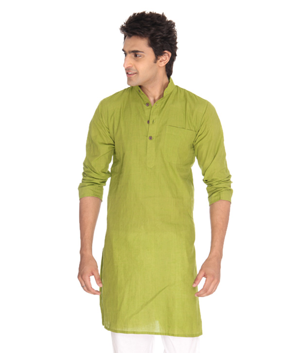 Abhiyuthan Green Cotton Striped Long Kurta