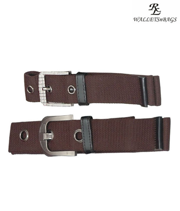 WalletsnBags Brown Canvas Belts