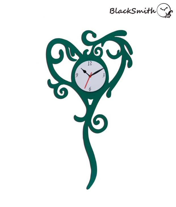 Blacksmith Lovely Green Heart Wall Clock